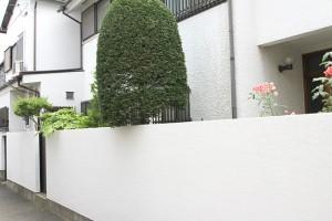 外塀は白くスッキリと
